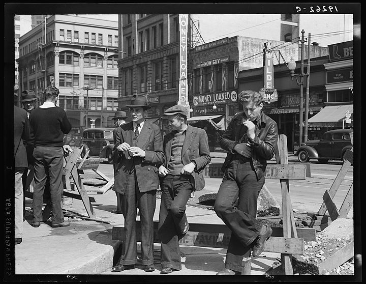Salvation Army, San Francisco, California. Unemployed young men pause a moment to loiter and watch, and then pass on April 1939 8b33295v.jpg