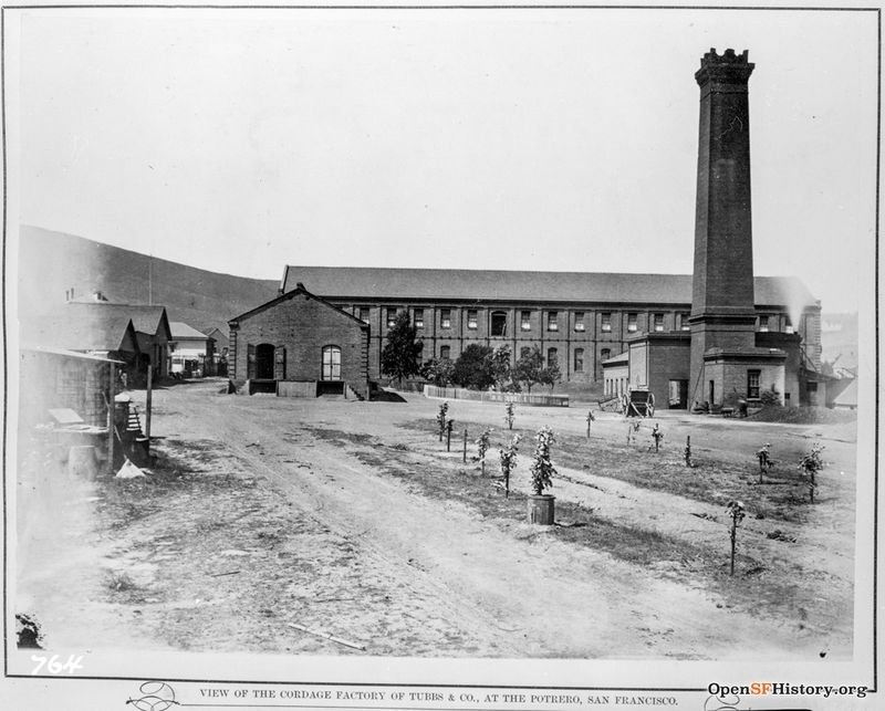 Tubbs & Co. Cordage Manufacturing, rope walk. -view of the Cordage Factory of Tubbs & Co., at the Potrero c 1895 Located at 22ns and Iowa.wnp26.288.jpg