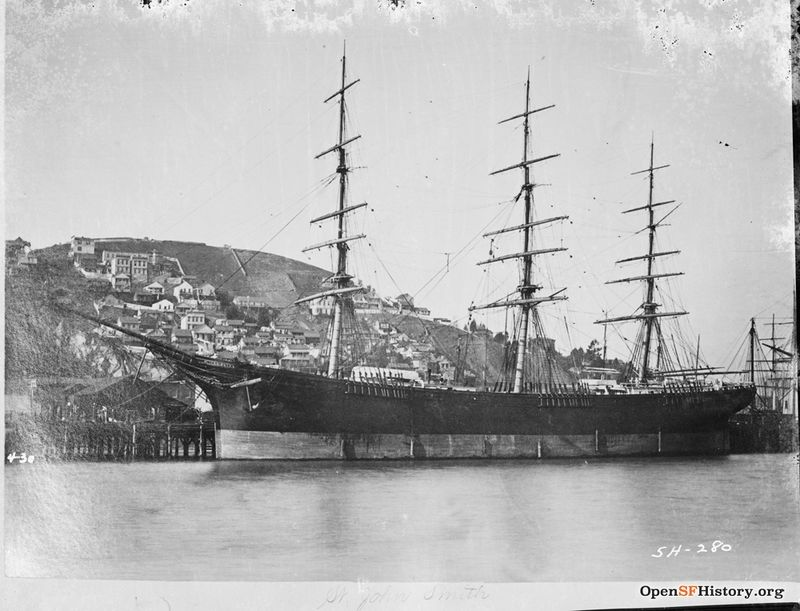 St John Smith 430 3-masted full-rigged ship tied up along waterfront- Telegraph Hill in background - F810 SH-280 c 1880 wnp71.2429.jpg