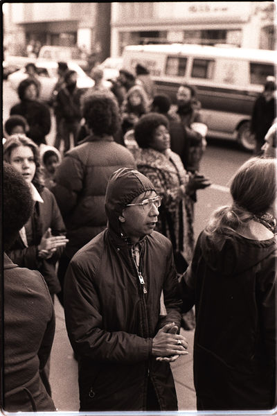 File:Protesters at an anti-eviction rally in front of the International Hotel - January 1977 Nancy Wong.jpg