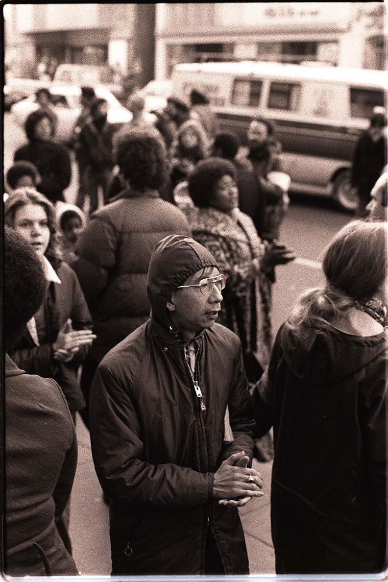 Protesters at an anti-eviction rally in front of the International Hotel - January 1977 Nancy Wong.jpg