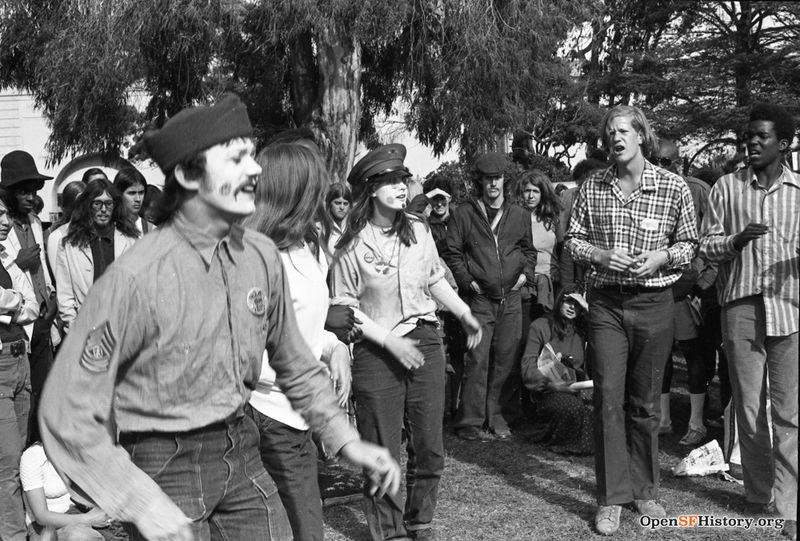 Kezar Triangle, people watching a performance. Anti Vietnam War March, from the Golden Gate Park Panhandle to Kezar Stadium wnp28.3215.jpg