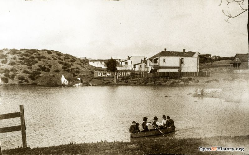 File:Interdune lake known as Kellys Pond, north of today's Geary Boulevard. Former 139 Parker Avenue house behind. -Research by Andrew Mihailovsky- Popular hunting spot, filled in the 1890s wnp4.1469.jpg