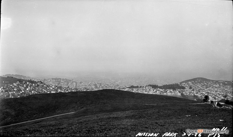 March 1 1926 McLaren Park (originally called Mission Park) looking north toward Glen Park; Fairmount Heights to the left, Holly Park and Bernal Heights at right wnp14.0077.jpg