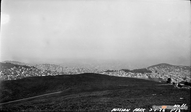 File:March 1 1926 McLaren Park (originally called Mission Park) looking north toward Glen Park; Fairmount Heights to the left, Holly Park and Bernal Heights at right wnp14.0077.jpg