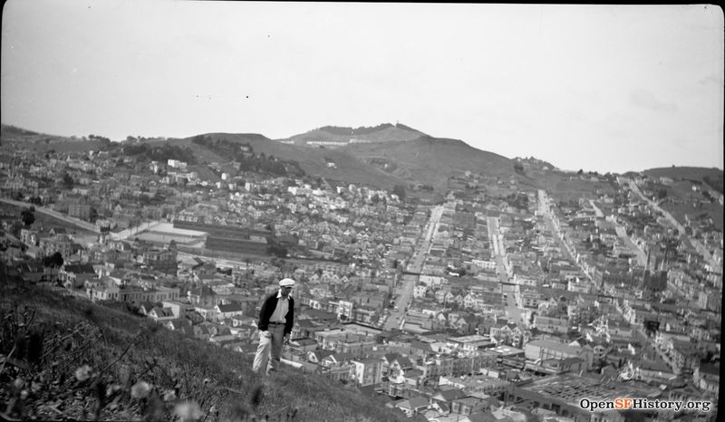 1930s View west, overlooking Noe Valley, with elevated railway. St Pauls Catholic Church at far right. In lower right corner, 29th-Mission St. car barn, Lyceum Theatre. Fairmount School wnp14.1107.jpg