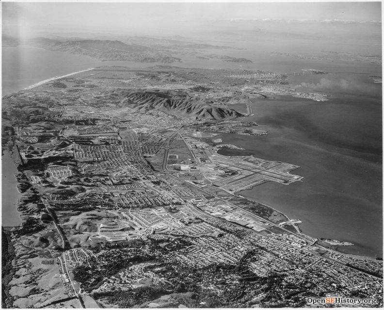 C1952 Looking north along San Francisco peninsula toward San Francisco and Marin;. SFO at right wnp27.5576.jpg