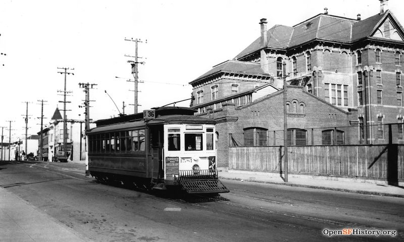 Folsom between 26th Street and Cesar Chavez, Market Street Railway (MSRY) 36-line streetcar 1581, Cogswell College in the background Line 36 - 1581-36-01 SB on Folsom South of 26th Street Cogswell College 1939 wnp5.50338.jpg