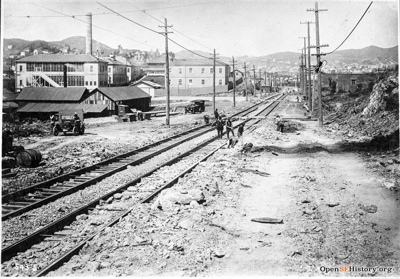 View west on Cesar Chavez (Army) from Connecticut Islais Creek Incinerator, Bernal Heights and Twin Peaks in background June 19 1918--wnp36.01888.jpg