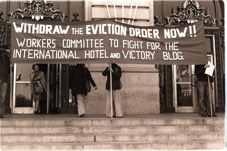 Housing activists protest outside San Francisco City Hall, 1977 Nancy Wong.jpg