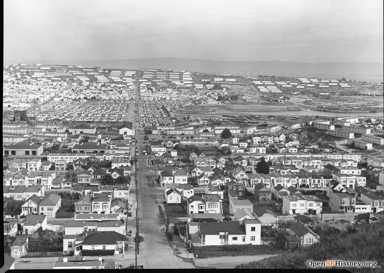 View North from Bayview Hill across Bayview District to Hunters Point, Yosemite slough 1953 wnp28.1106.jpg