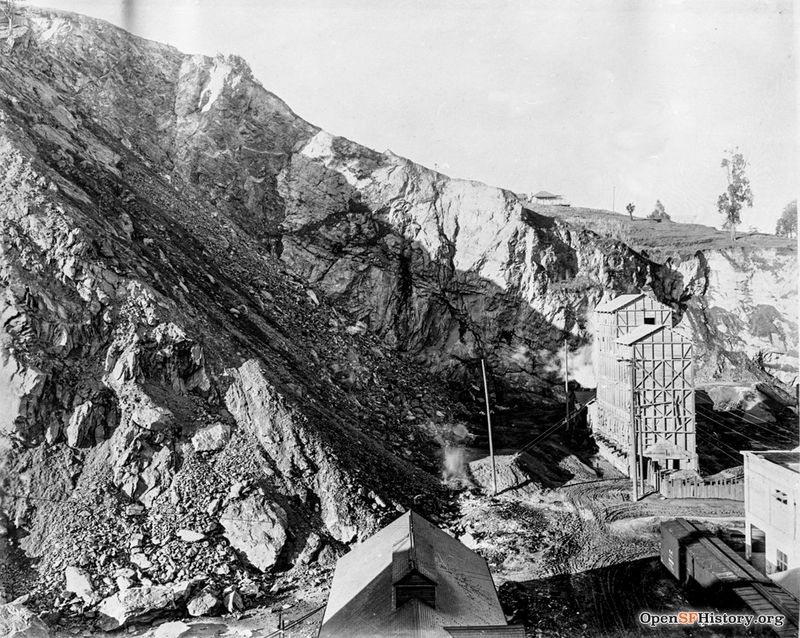 1915 Gray's Quarry, near Lombard and Montgomery (Lombard) dpwbook11 dpw2205 Northeast face of Telegraph Hill wnp36.00699.jpg