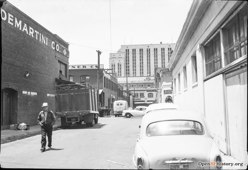 May 1959 View west on Oregon St. between Jackson and Washington. John Di Martini Co., Levy and Zentner Co., Appraisers Building in background. wnp28.1202.jpg