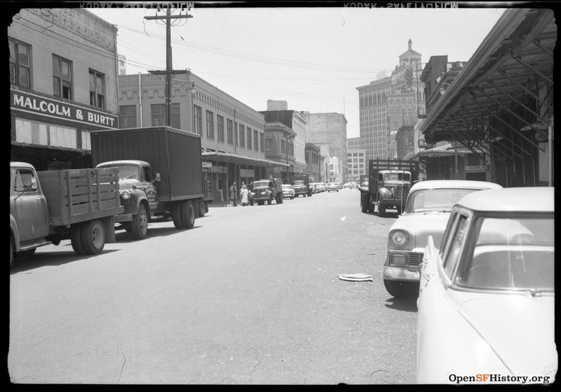 June 1959 Produce District, now the Golden Gateway, view south on Drumm across Washington toward Market. Jacobs Malcom & Burtt on left wnp14.10237.jpg