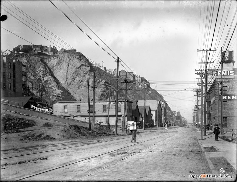 File:Sansome near Vallejo c 1912 View north past houses on Telegraph Hill. F. Iacopi and Co. hay and grain; Sterling Laundry wagon, Bemis Bros. Bag Co. warehouse wnp15.1599.jpg