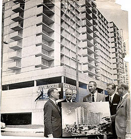 Justin Herman, Don Ralya, Roger Boas, Sherman Miller and Joseph L. Eichler at the opening of the Laguna Eichler building in the Western Addition district 1963 AAC-1858.jpg