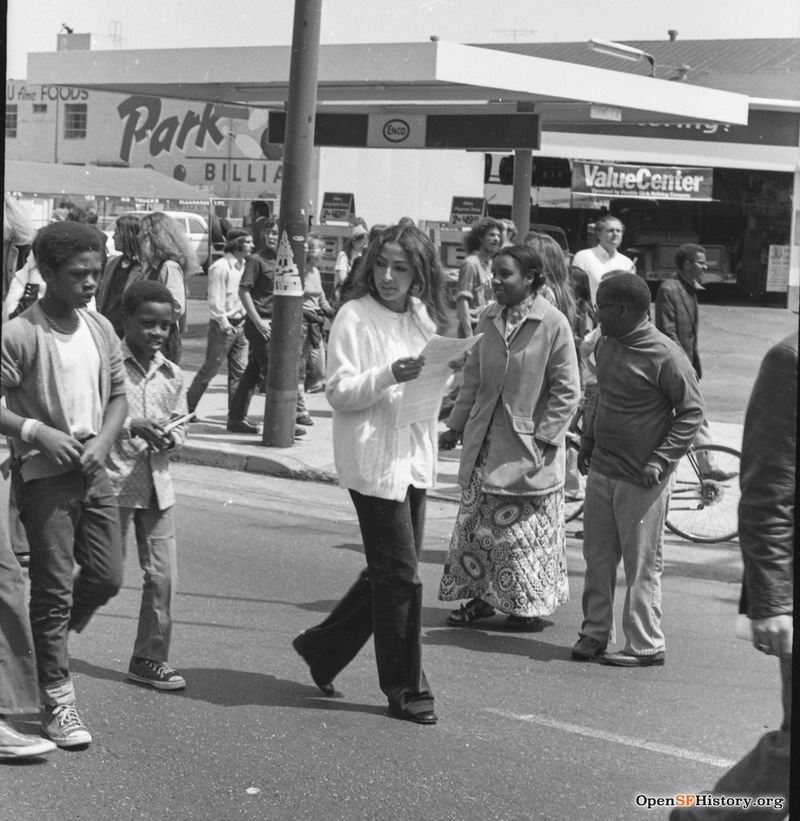 Anti Vietnam War March, from the Golden Gate Park Panhandle to Kezar Stadium. View east on Stanyan near Haight. Enco gas station, Park Bowl, later Amoeba Records in background with sign Billiards wnp28.3258.jpg