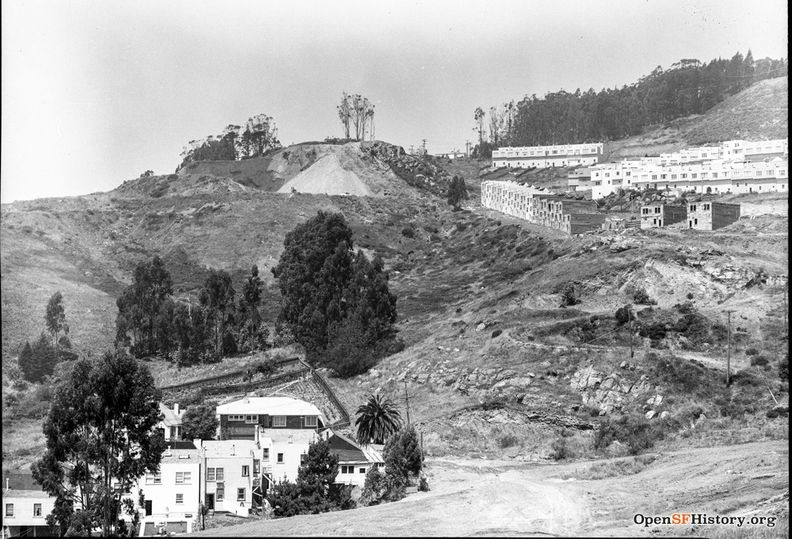View from above Foerster showing Molimo Construction and bulldozing Sherwood forest c 1953 wnp28.1068.jpg