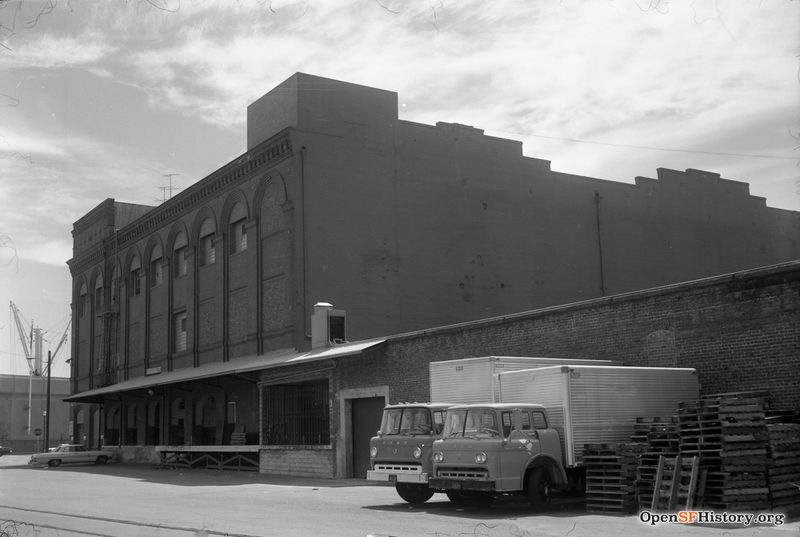View east to large brick warehouse, 1 Lombard St., on southwest corner Aug 4 1968 wnp28.2472.jpg