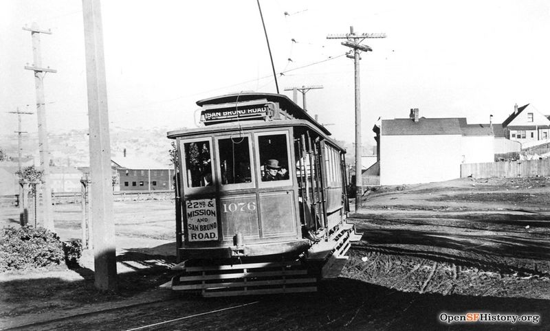 View northeast toward Potrero Hill in the background. 25-line streetcar 1076 turning from Alabama onto Precita, Precita Park (then Bernal Park) corner at left wnp5.50295.jpg