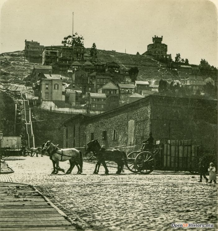 C1890 Battery and Filbert view west on Filbert to two-horse carts on east side of Telegraph Hill. German Castle (Layman's Castle) atop hill. wnp24.227a.jpg