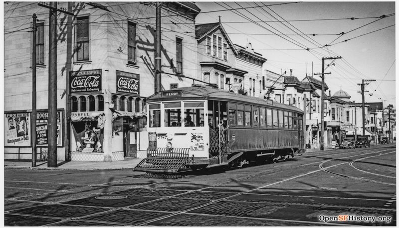 October 1939 24th and Folsom 35-Line 785. View across intersection to northeast corner. Marvel Luncheonette. Posters advertising movies at Fox and Roosevelt Theatres wnp27.3647.jpg