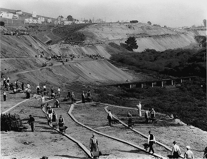 Stanley-Drive-(Brotherhood-Way)-east-near-Park-Merced-Junipero-Serra-crosses-in-distance-(white-railing)-WPA-Project-1934-SFPL.jpg