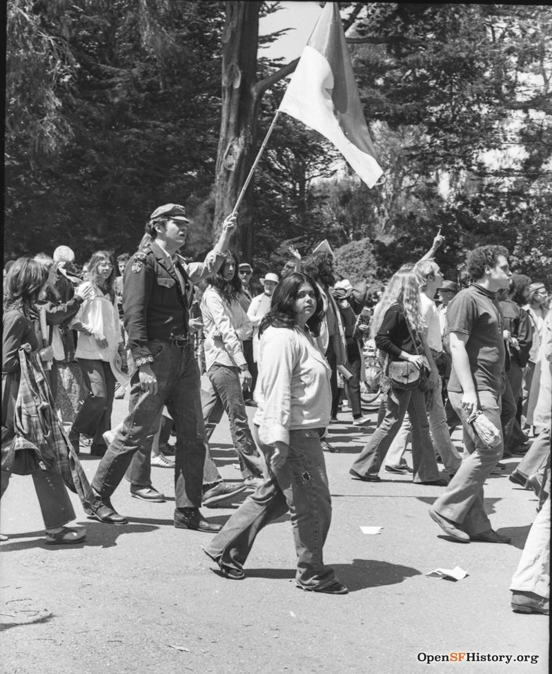 People marching through the Panhandle, Anti Vietnam War March from the Golden Gate Park Panhandle to Kezar Stadium. wnp28.3211.jpg