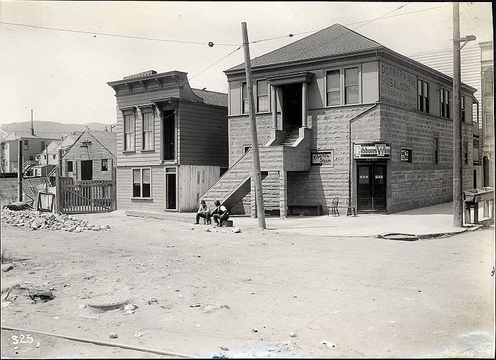 Ye olde Potrero Hill Saloon and Boarding House, at 25th advertising Hibernia Steam and Gibbons Whiskey -- pic circa 1911 1402991 512055821917 899170763 o.jpg