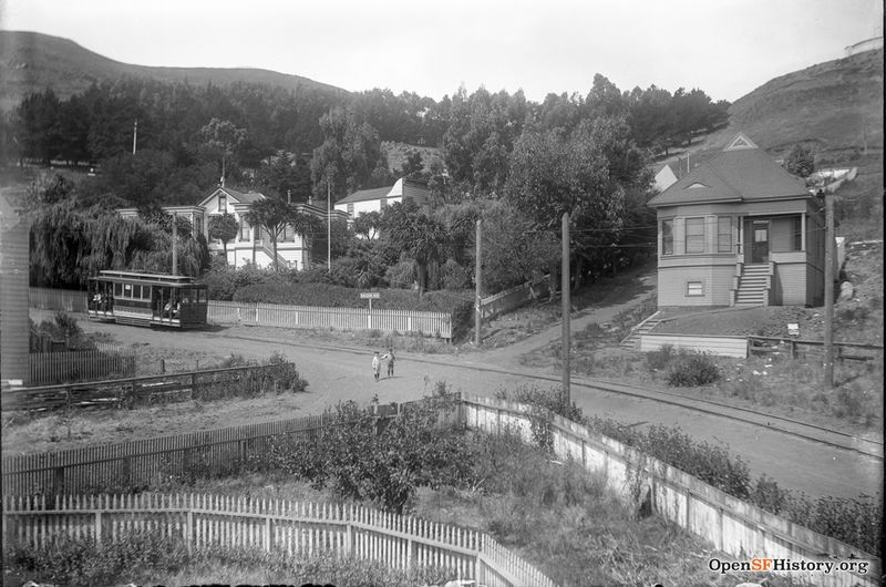 View west toward intersection of Falcon (now Market) and Moss Alley (now 19th). Miller & Joost home (now 3224 Market) at the left. 18th and Park line streetcar, Twin Peaks and Tank Hill in the background wnp15.1723.jpg