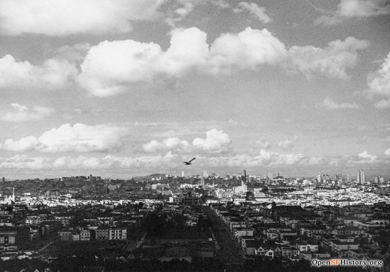 1938 Looking north from Bernal Heights, with bird flying over skyline wnp27.3301.jpg