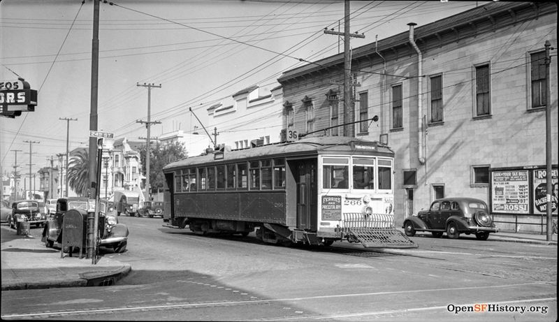 C Nov 1939 View northeast to MSRy 266 36-Line on Folsom Street. Ad for film at Roosevelt (later York) Theater wnp14.10012.jpg