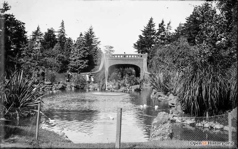 Alvord Lake and Bridge, at Haight Street entrance to Golden Gate Park c 1890 wnp15.1138.jpg