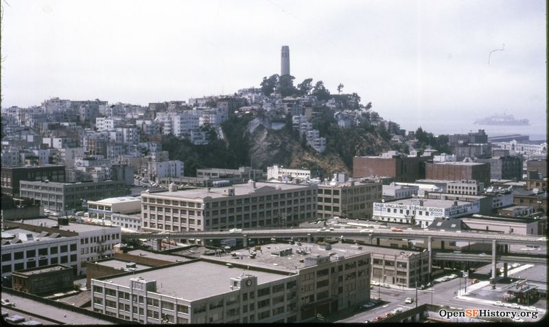 1970 View northwest toward Telegraph Hill from Golden Gateway Apartments 440 Davis toward Telegraph Hill wnp25.6395.jpg
