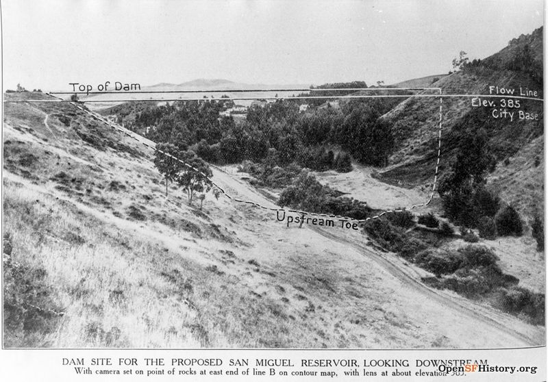File:1915--Photograph with drawing of proposed San Miguel Reservoir Dam, copied from a magazine wnp4.1251.jpg