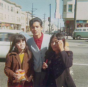 Oscar Coronado, Tina, and another friend at Dolores and 18th in 1969