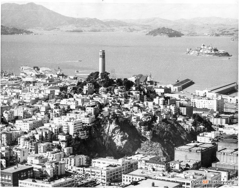 1958 Aerial view of Coit Tower, Alcatraz, Marin County beyond. wnp27.5543.jpg