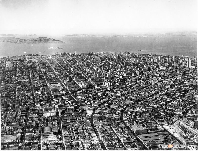 Aug 11 1931 Looking north with Armory in foreground, Civic Center and downtown skyline Air Corps U.S. Army wnp27.2671.jpg