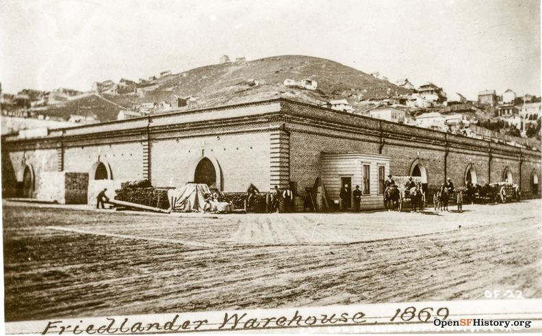 Friedlander Warehouse 1869 Southwest corner Sansome and Chestnut, Telegraph Hill behind. wnp27.3812.jpg