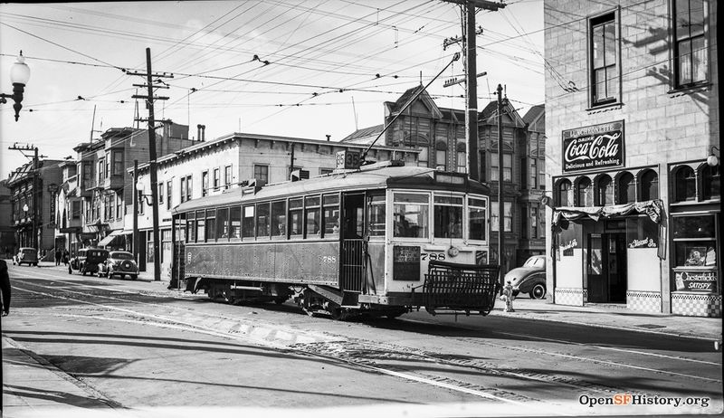 August 1940 View northwest across 24th to 35 Streetcar 788. Luncheonette wnp14.3589.jpg