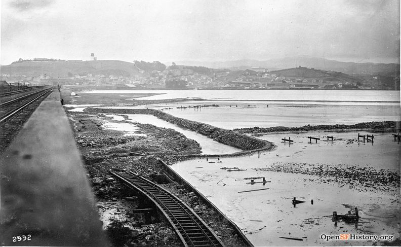 Islais Creek flood Jan 25 1916 Islais Creek SW from trestle dpwbook15 dpw2992 wnp36.01166.jpg