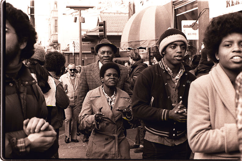 Members of Peoples Temple attend an anti-eviction rally at the International Hotel, San Francisco - January 1977 Nancy Wong.jpg