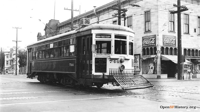 View Southeast across 24th Street and Folsom Street, Market Street Railway (MSRY) 35-line streetcar 744, Marvel Luncheonette in background Line 36 - 0744-36-01 FOLSOM and 24TH 1937 wnp5.50329.jpg