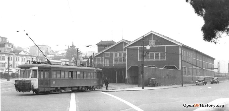 1940 Market St. Railway streetcar 403 at Valencia Car House at Duncan. 0403-35-A VALENCIA YARD 1940 wnp5.50676.jpg