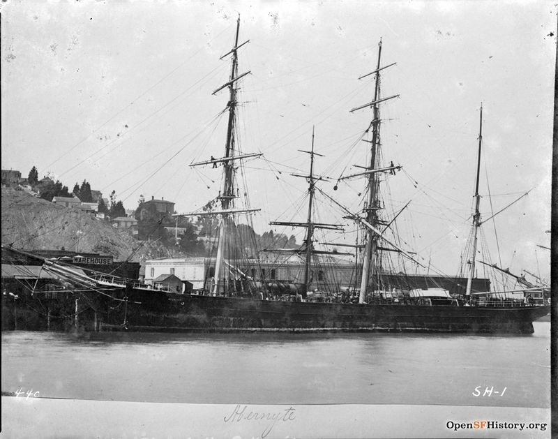 Abernyte 44c Bark-rigged sailing ship moored at foot of Telegraph Hill. Lombard Warehouse and North Point Warehouse in background. c1900 wnp71.2387.jpg