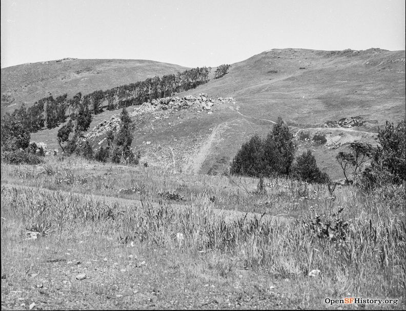 Diamond Heights Before Development, View East to Glen Canyon rock outcrops April 1957 wnp14.4190.jpg