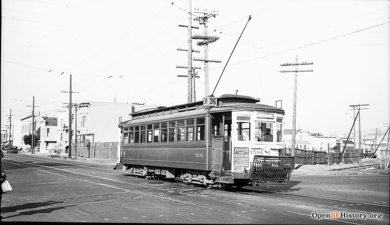 Folsom and 23rd 1939 View Northeast at Folsom and 23rd Street with Southern Pacific crossing to northbound 36-Line 1581 wnp14.3588.jpg