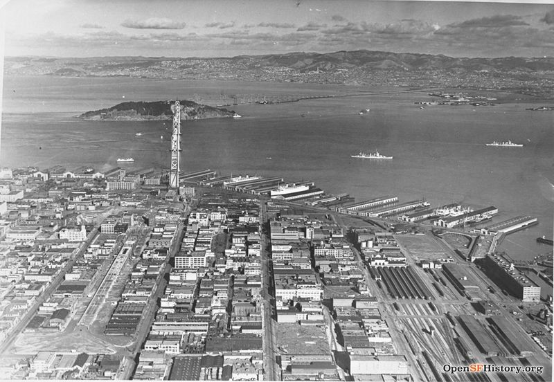 File:Aerial 1935 Bay Bridge construction visible wnp37.10060.jpg