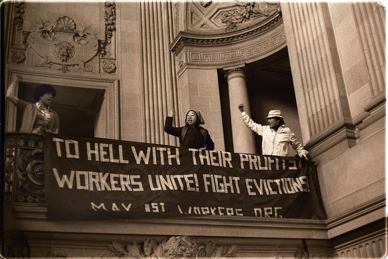 Protest at San Francisco's CITY Hall by supporters of the International Hotel, 1977 Nancy Wong.jpg
