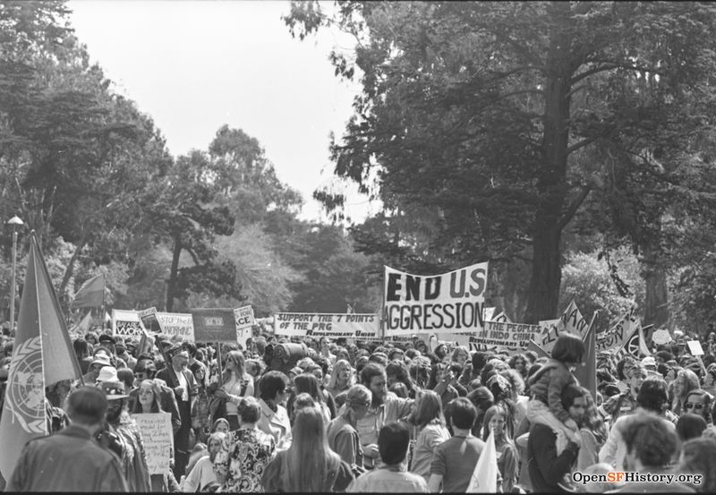 Panhandle, crowds of people with banners. Anti Vietnam War March, from the Golden Gate Park Panhandle to Kezar Stadium wnp28.3237.jpg